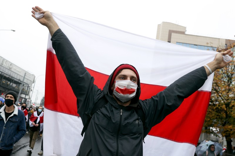A protester in Belarus