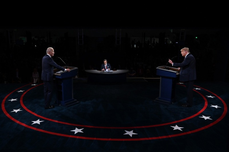 U.S. President Donald Trump and former Vice President Joe Biden debate at the Health Education Campus of Case Western Reserve University in Cleveland on Sept. 29.