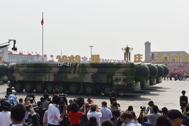 A military parade at Tiananmen Square in Beijing