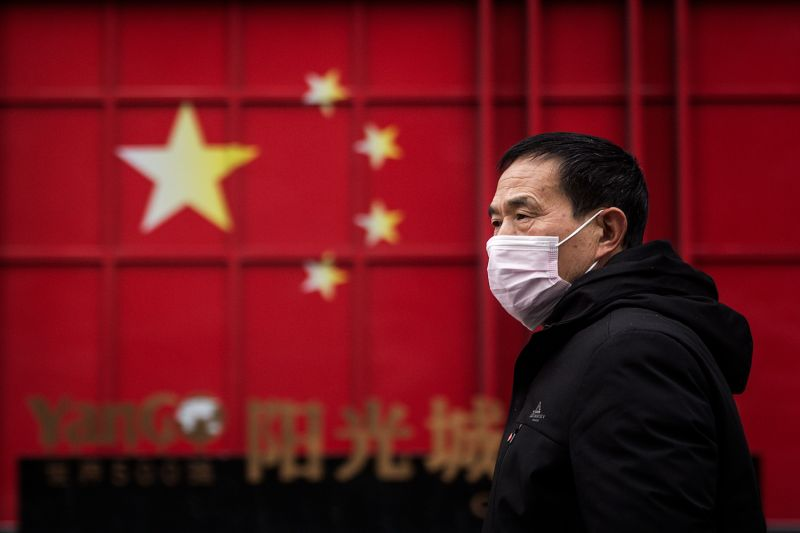 A man wears a protective mask in Wuhan, China.