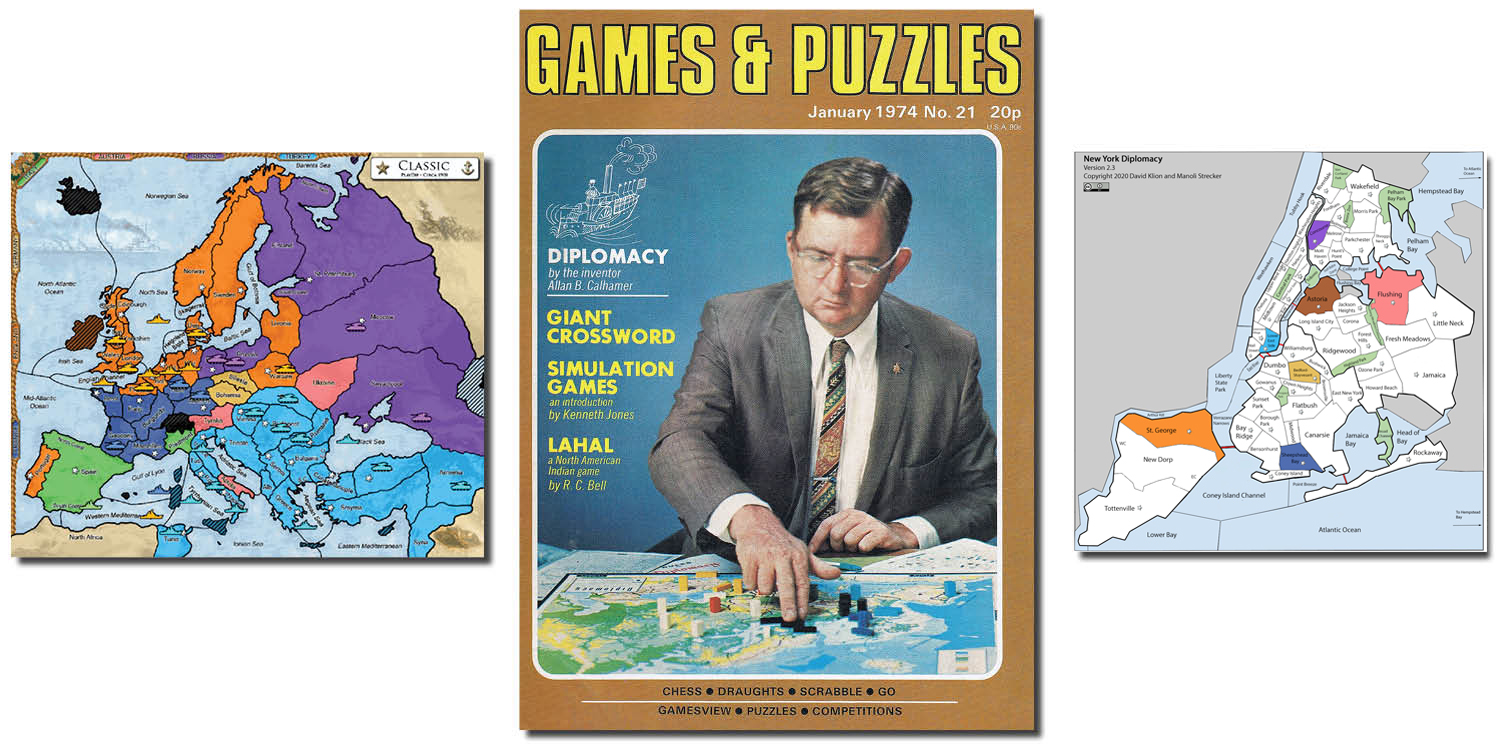From left: a classic Diplomacy board; a January 1974 cover of <em>Games & Puzzles</em> magazine featuring the creator of the strategy game, Allan B. Calhamer; and a version of the game designed by David Klion and Manoli Strecker set in a near-future post-apocalyptic New York City.