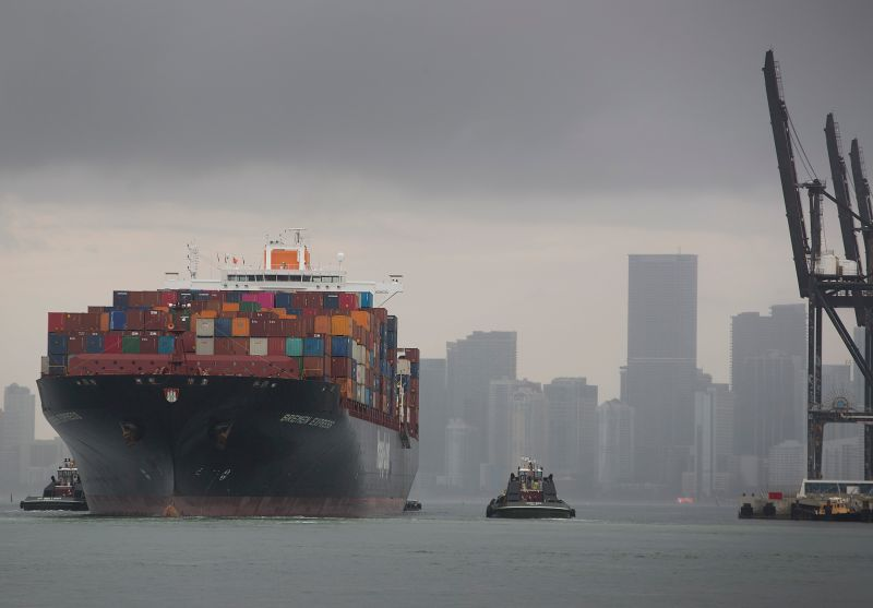 The German container ship Bremen Express prepares to dock in Miami on June 10, 2019.