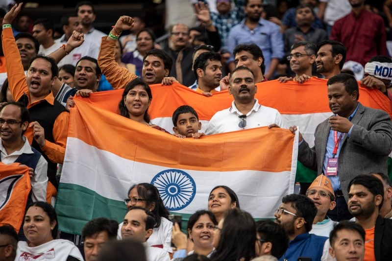 Supporters cheer as Indian Prime Minster Narendra Modi speaks at NRG Stadium on September 22, 2019 in Houston, Texas.