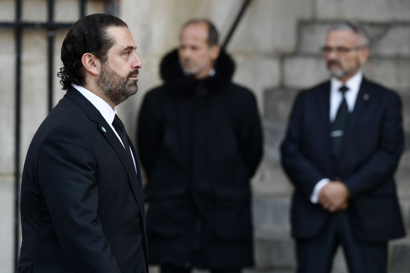 Lebanon's Prime Minister Saad Hariri arrives to attend a church service for former French President Jacques Chirac at the Saint-Sulpice church in Paris on Sept. 30, 2019.