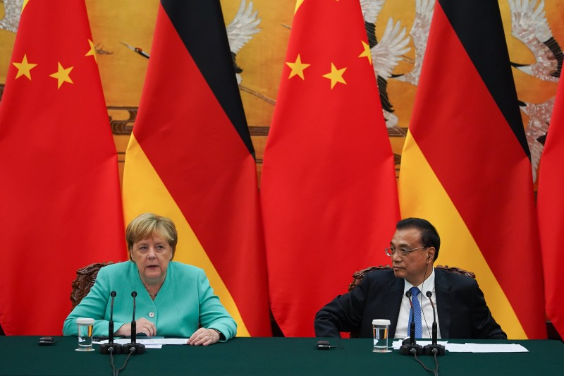 German Chancellor Angela Merkel gives a speech during a press conference at the end of a meeting with Chinese Premier Li Keqiang in Beijing on Sept. 6, 2019.