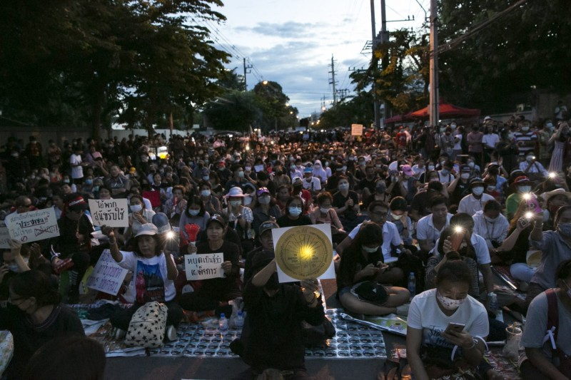 Thai protesters attend a rally outside of the Thai parliament in Bangkok on Sept. 24.