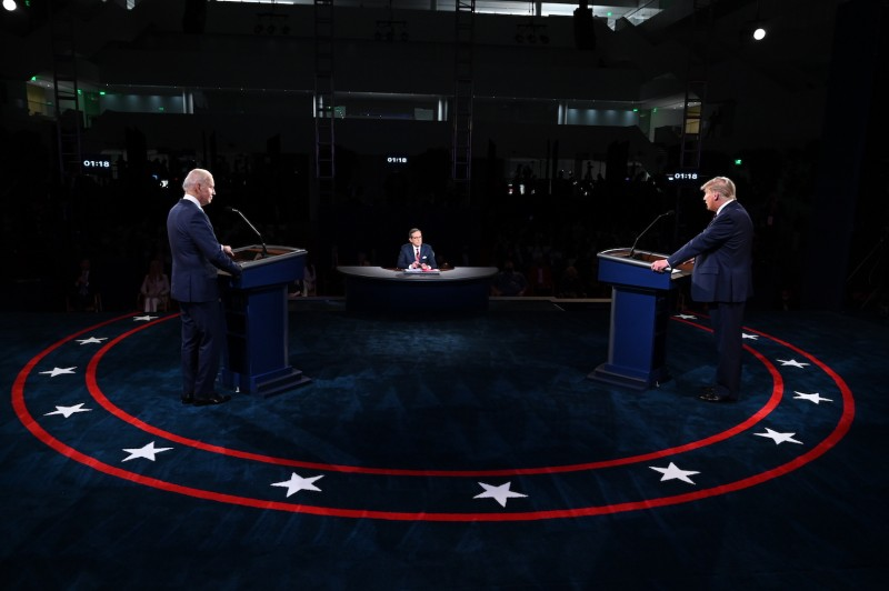 U.S. President Donald Trump and former Vice President Joe Biden face off in a debate.