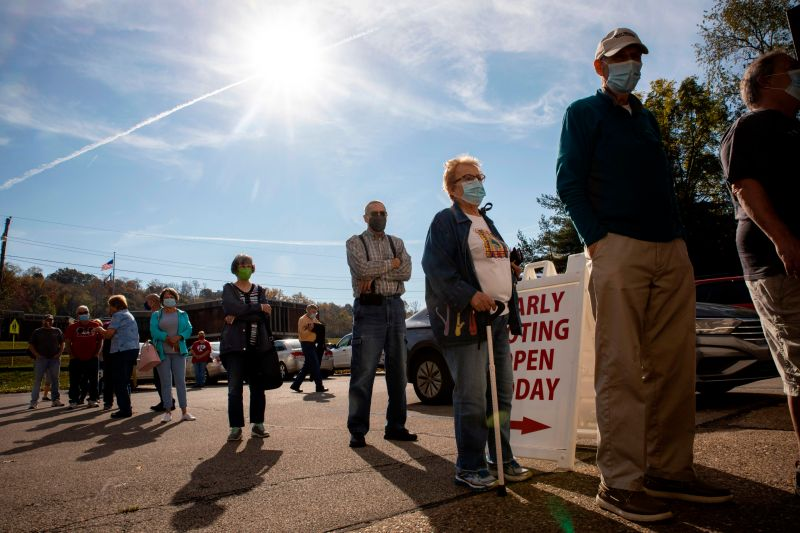 Early voters line up outside of the Vienna Community Building to cast their ballots for the Nov. 3 election, in Vienna, West Virginia, on Oct. 21, 2020.