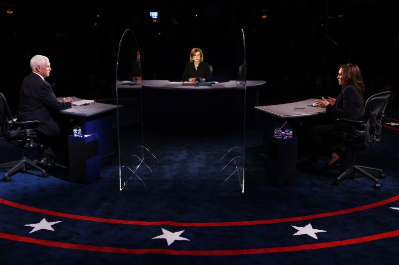 Democratic vice presidential nominee Sen. Kamala Harris and U.S. Vice President Mike Pence participate in the vice presidential debate moderated by Washington Bureau Chief for USA Today Susan Page at the University of Utah on Oct. 7 in Salt Lake City, Utah.
