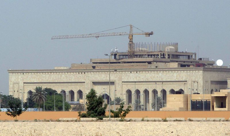 A picture shows the U.S. embassy complex, still under construction, in the heavily fortified Green Zone, on the west bank of the Tigris River in Baghdad on Oct. 11, 2007.