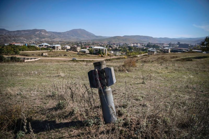 An unexploded BM-30 Smerch missile is seen on the outskirts of Stepanakert, Nagorno-Karabakh, on Oct. 12.