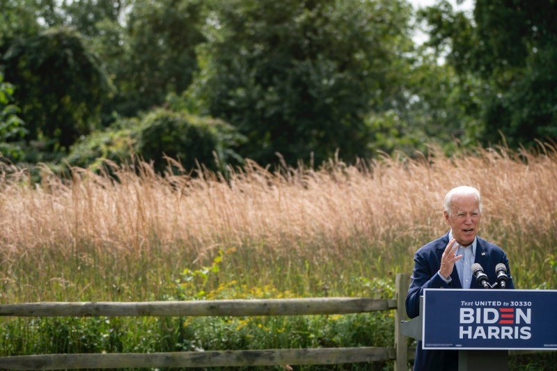 Democratic presidential nominee Joe Biden speaks about climate change at the Delaware Museum of Natural History on Sept. 14.