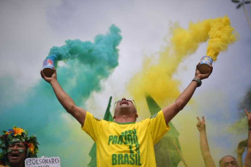A supporter of Brazilian President Jair Bolsonaro takes part in a demonstration in Rio de Janeiro on Oct. 28, 2018.