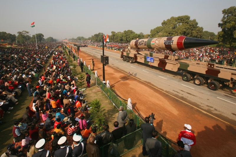 An Agni-III nuclear-capable missile is paraded on Republic Day in New Delhi on Jan. 26, 2009.