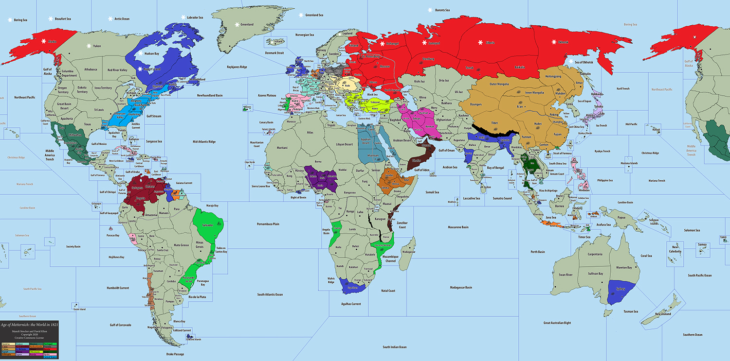 Global Diplomacy 1821 map created by David Klion and Manoli Strecker