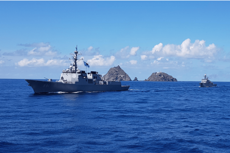 The South Korean Navy Aegis destroyer King Sejong the Great sails during a drill on the Dokdo/Takeshima islets on Aug. 25, 2019.