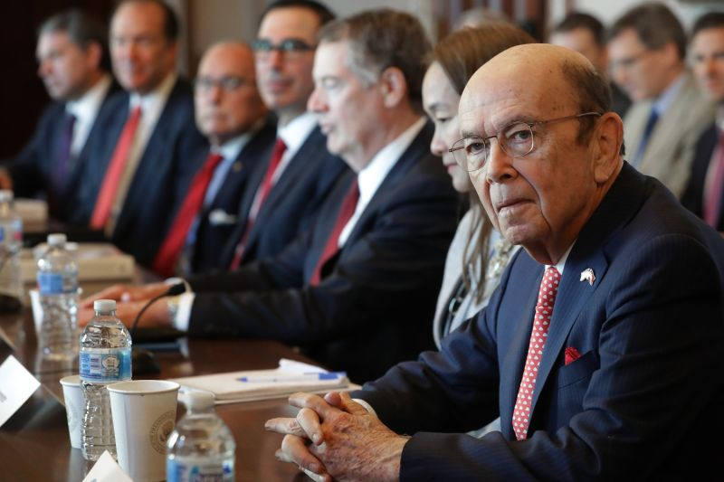 U.S. Commerce Secretary Wilbur Ross and other Trump administration officials sit down with Chinese vice ministers and senior officials for trade negotiations at the Eisenhower Executive Office Building in Washington on Jan. 30, 2019.