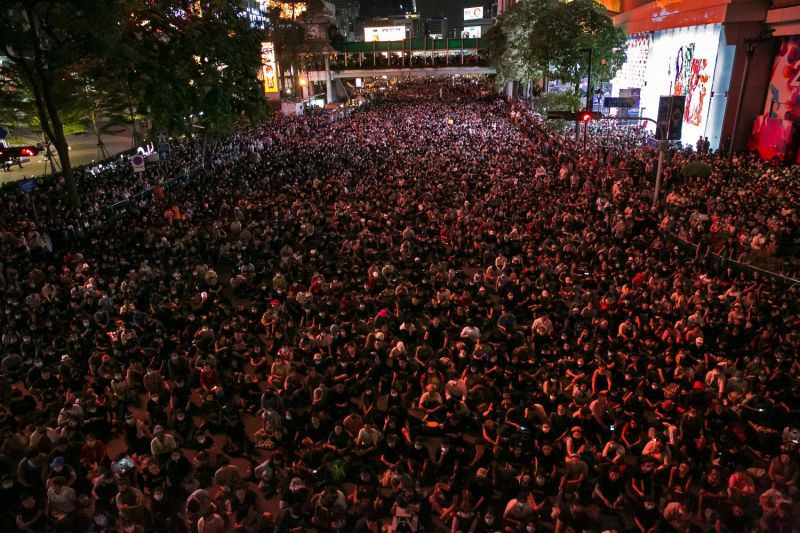 Protesters attend a rally  in Bangkok on Oct 15.