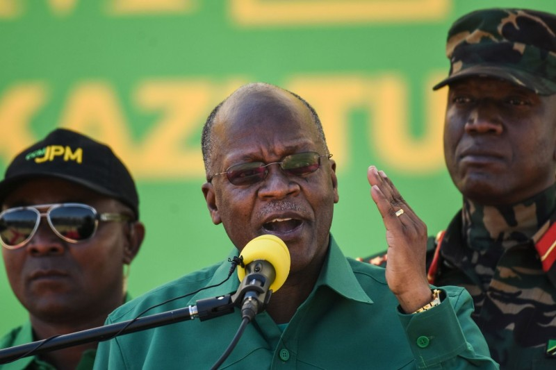 Tanzania's President John Magufuli speaks during the official launch of the party's campaign for the October general election at the Jamhuri stadium in Dodoma, Tanzania, on August 29, 2020.