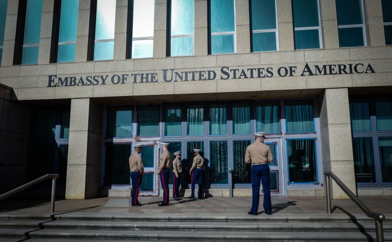 U.S. Marines stand outside the U.S. Embassy in Havana