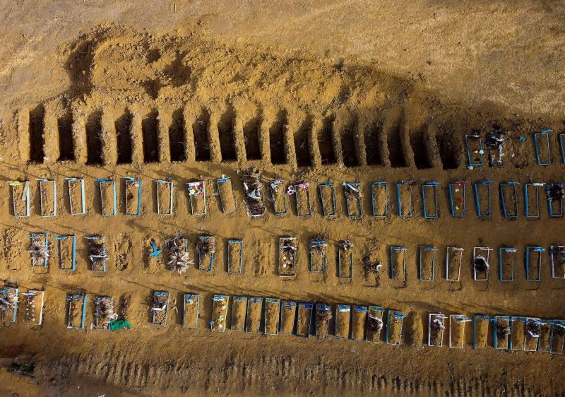 An aerial view shows graves in the Nossa Senhora Aparecida cemetery in Manaus, Brazil, on July 20.