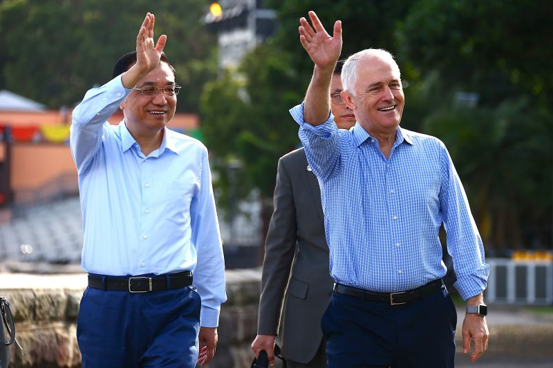 Chinese Premier Lie Keqiang and Australian then-Prime Minister Malcolm Turnbull during a state visit in Sydney on Mar. 25, 2017.