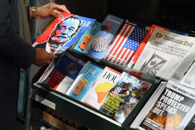 "A ""misinformation newsstand"" aiming to educate voters about disinformation ahead of the 2018 U.S. midterm elections as seen in Manhattan on Oct. 30, 2018."