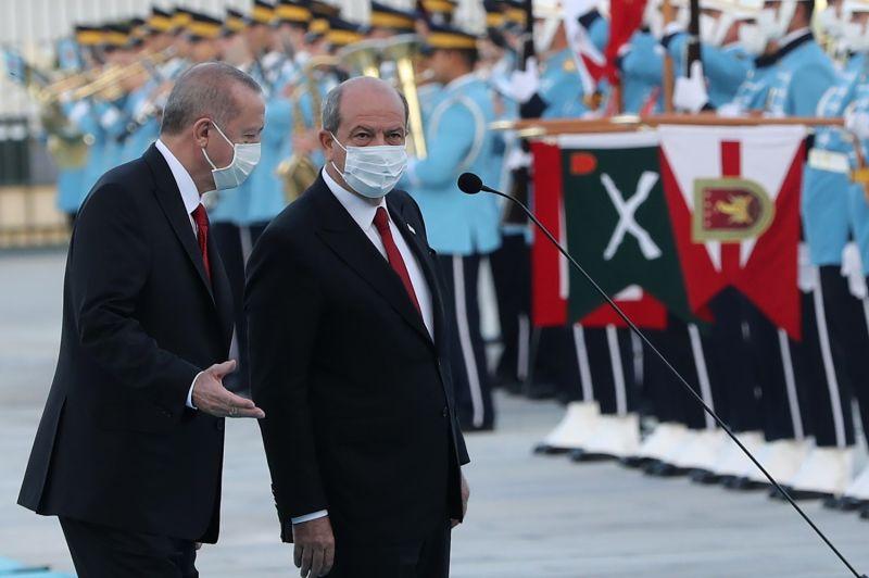 Turkish President Recep Tayyip Erdogan and Turkish Cypriot leader Ersin Tatar