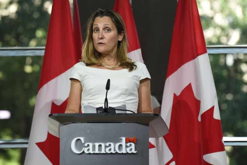 Then-Canadian Foreign Minister Chrystia Freeland speaks at the Canadian Embassy in Washington, D.C., on Aug. 31, 2018.