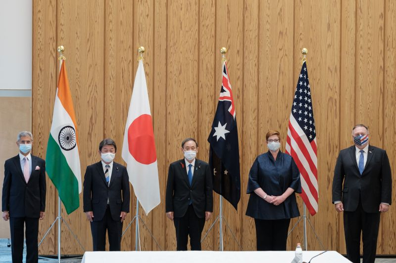 Indian Minister of External Affairs Subrahmanyam Jaishankar, Japanese Foreign Minister Toshimitsu Motegi, Japanese Prime Minister Yoshihide Suga, Australian Foreign Minister Marise Payne, and U.S. Secretary of State Mike Pompeo before their meeting in Tokyo on Oct. 6.