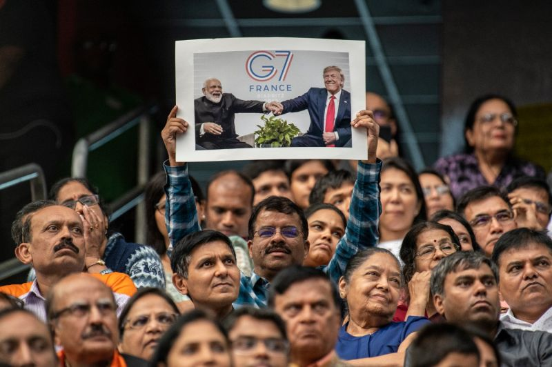 "Attendees listen as Indian Prime Minster Narendra Modi speaks at the ""Howdy, Modi"" event, which U.S. President Donald Trump attended, at NRG Stadium in Houston on Sept. 22, 2019."