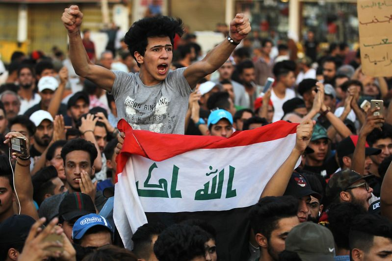 Iraqis demonstrate against corruption and lack of services on Sept. 7, 2018, in Tahrir Square in central Baghdad.