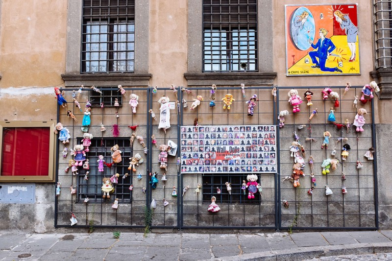 The Wall of Dolls, a memorial to the victims of femicide in Italy