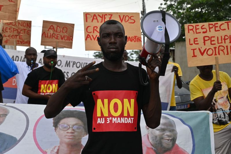 A group supporting Ivory Coast's political opposition protest against a third term for President Alassane Ouattara in Abidjan on Oct. 15.