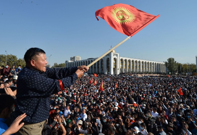 People protest against the results of parliamentary elections in Bishkek, Kyrgyzstan, on Oct. 5.