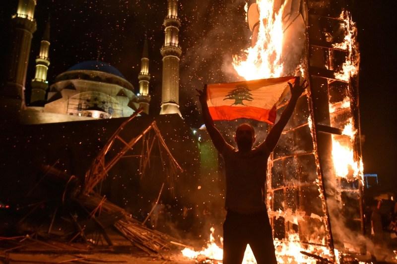 A Lebanese protester