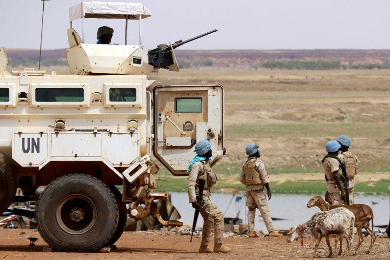 Senegalese soldiers from the U.N. peacekeeping mission in Mali, MINUSMA, on July 24, 2019, a day after suicide bombers in a vehicle painted with U.N. markings injured several troops and civilians in an attack on an international peacekeeping base in Mali.