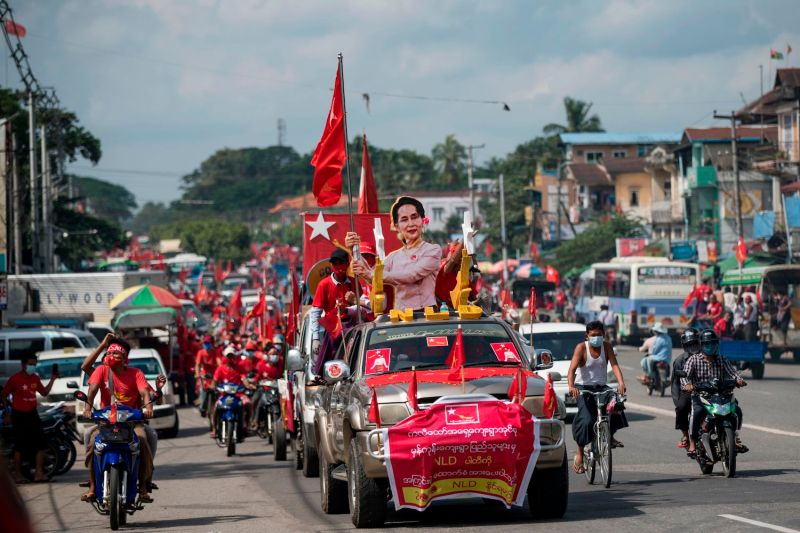 Supporters of the National League for Democracy party in Myanmar