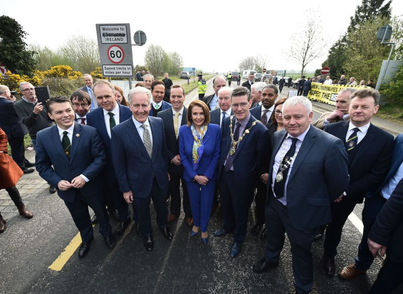U.S. House of Representatives Speaker Nancy Pelosi and other leading U.S. politicians visit the border between the United Kingdom and the Republic of Ireland.