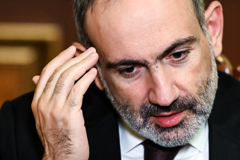 Armenian Prime Minister Nikol Pashinyan gives an interview in Yerevan on Oct. 6.