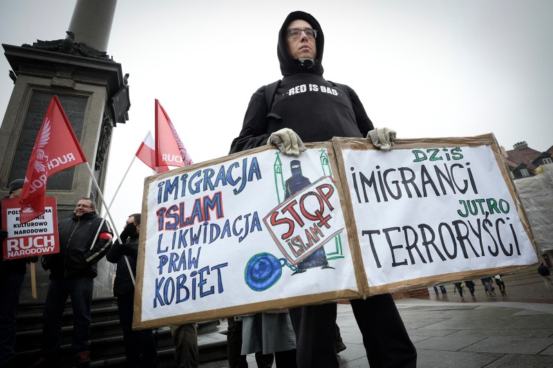 An anti-immigration protest in Poland