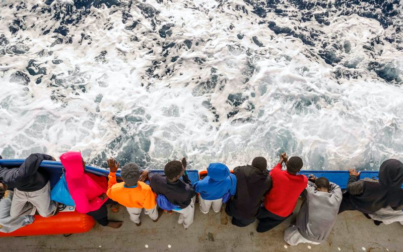 A group of migrants from Mali, Ivory Coast, and Cameroon travel on board the Spanish NGO Maydayterraneo's Aita Mari rescue boat on Feb. 10.