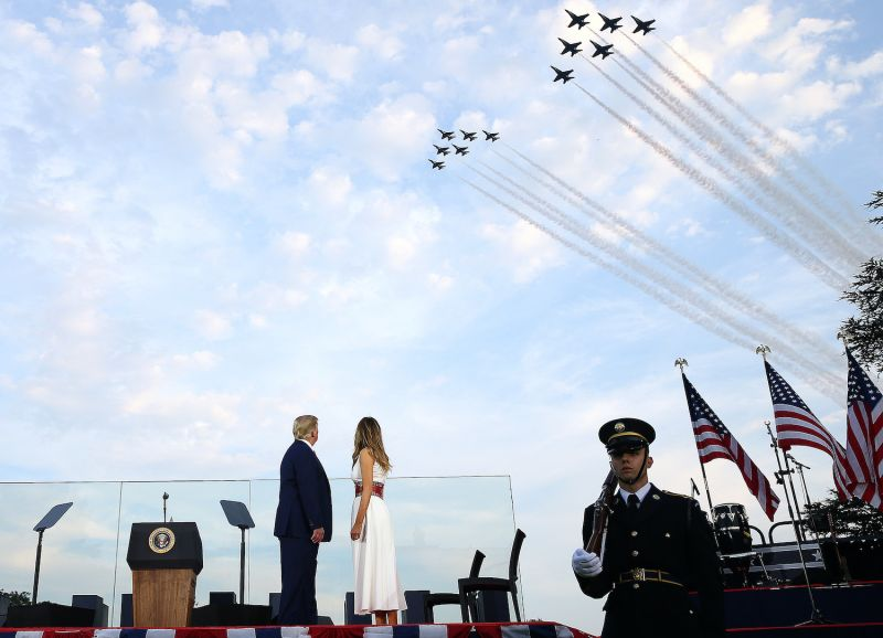 U.S. President Donald Trump and first lady Melania Trump watch the U.S. Navy Blue Angels and U.S. Air Force Thunderbirds perform a flyover near the White House on July 4 in Washington.
