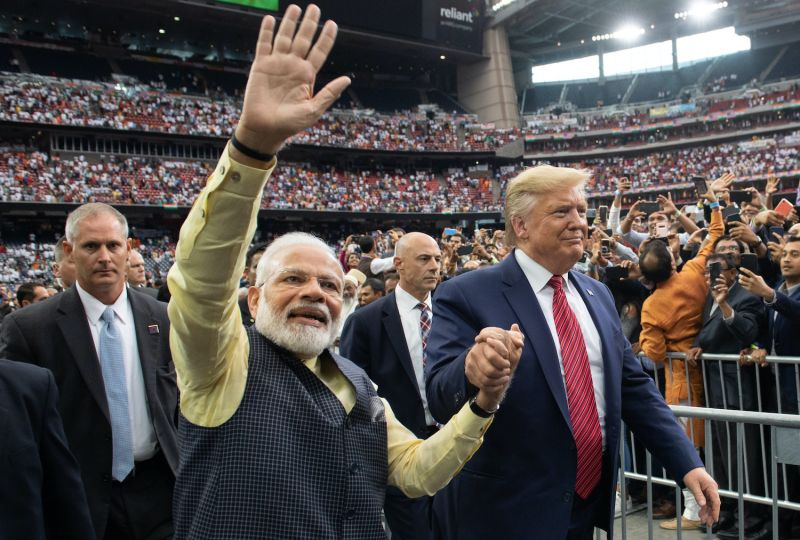 "US President Donald Trump and Indian Prime Minister Narendra Modi attend the ""Howdy, Modi!"" event at NRG Stadium in Houston, Texas, on Sept. 22, 2019."