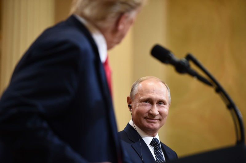 U.S. President Donald Trump and Russian President Vladimir Putin at a press conference in Helsinki, on July 16, 2018.