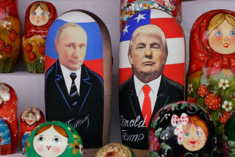 Russian matryoshka dolls depicting Russian President Vladimir Putin and U.S. President Donald Trump on sale at in Moscow on July 13, 2018.