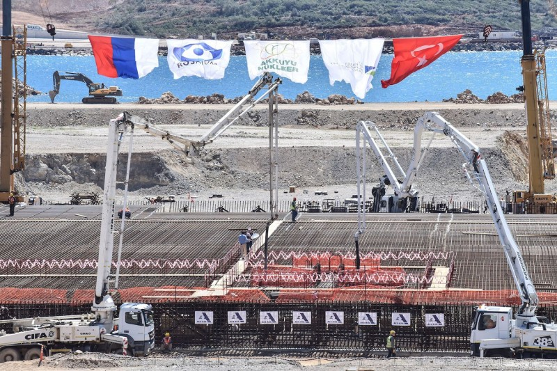 A view of the construction site of Turkey's first nuclear power plant, Akkuyu, pictured during the opening ceremony in the Mediterranean Mersin region on April 3, 2018.