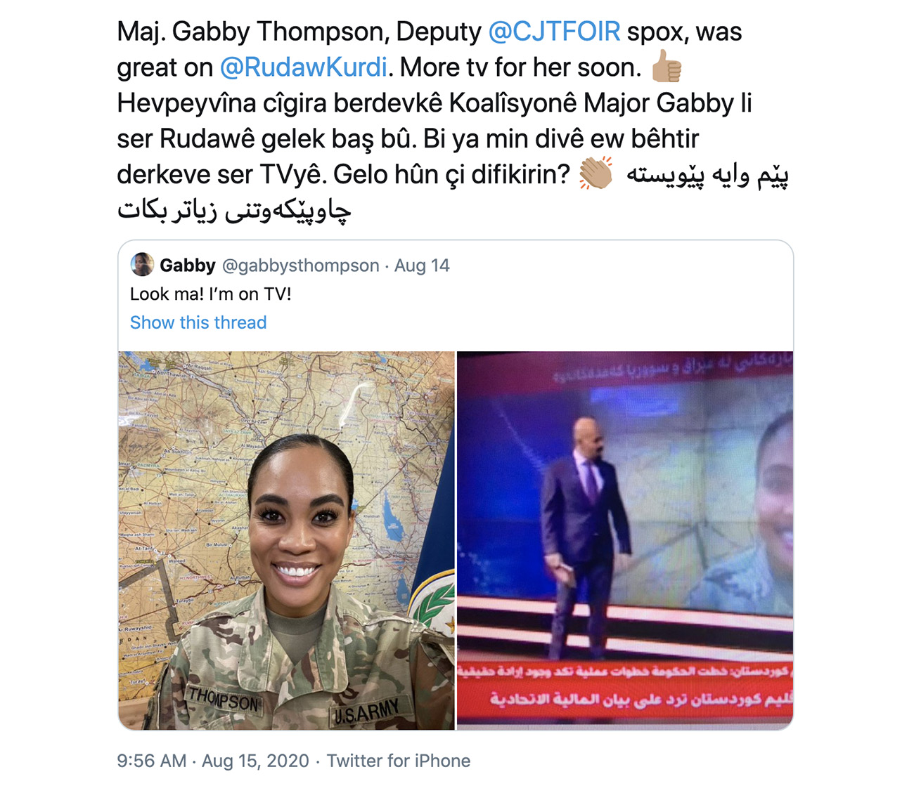 Caggins's tweet introducing his deputy spokesperson, Maj. Gabby Thompson, with a tweet in English, Arabic, and Kurdish.