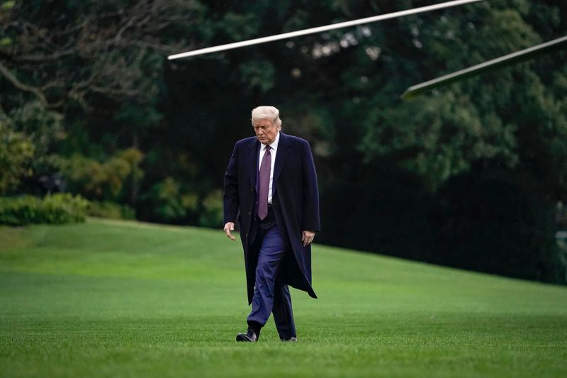 U.S. President Donald Trump exits Marine One on the South Lawn of the White House in Washington on Oct. 1.