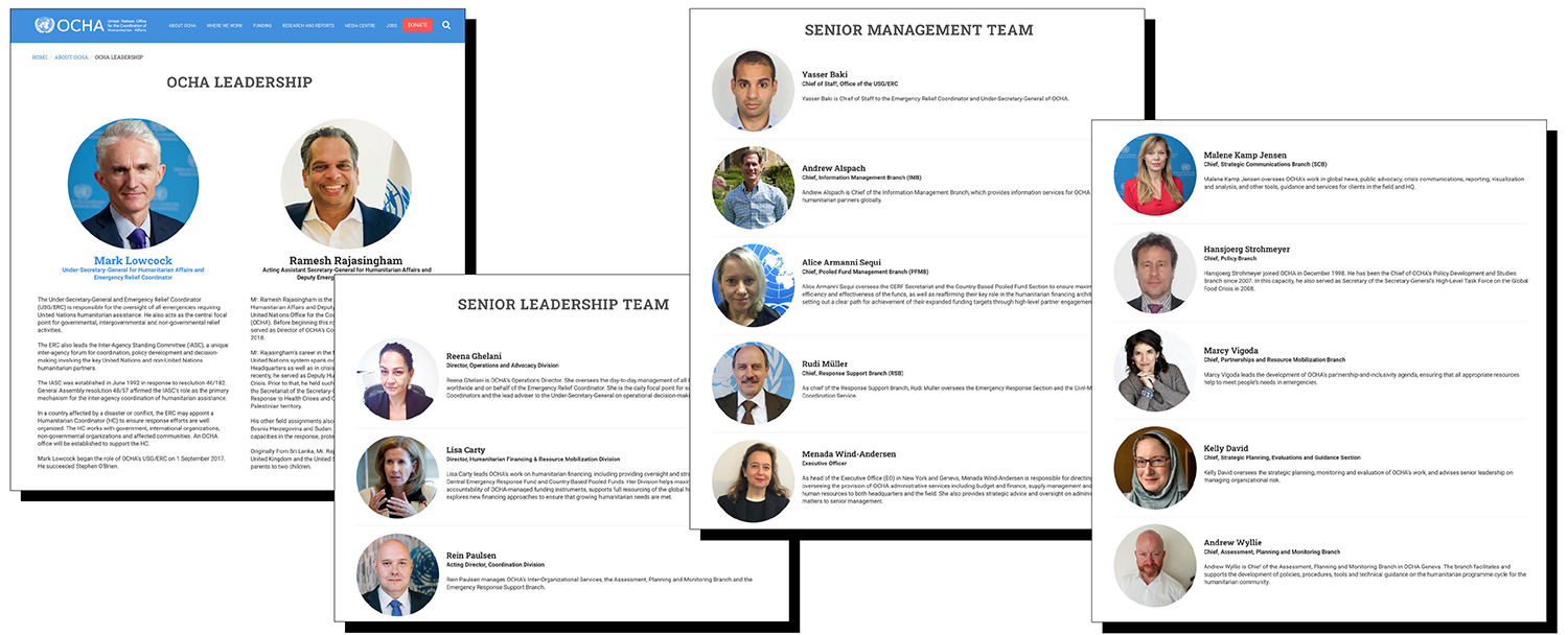 The leadership page on UNOCHA's website on Oct. 15.